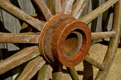Wooden wheel, hub, and spokes Royalty Free Stock Photos