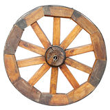 Wooden wheel, isolated on white Stock Image