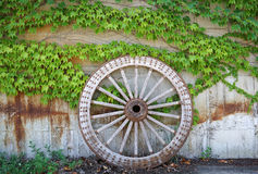 Wooden wheel on old brick wall Royalty Free Stock Image