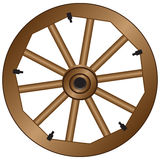 Wooden wheel for an old wagon Royalty Free Stock Photo