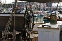 Wooden wheel sailboat Stock Image
