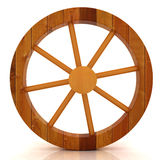 Wooden wheel on a white Royalty Free Stock Images