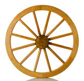 Wooden wheel on a white background Stock Images