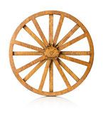 Wooden wheel  on the white background Royalty Free Stock Photography