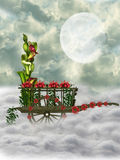 Wooden wheelbarrow. With flowers in the sky