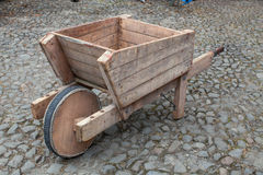 Wooden wheelbarrow Royalty Free Stock Images