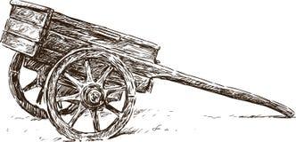 Wooden wheelbarrow. Vector drawing of the old wooden wheelbarrow Stock Image