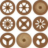 Wooden wheels. Illustration of types of old wooden wheels Stock Images