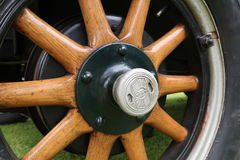 Wooden Wheels on a Nash Sedan. Restored Nash Sedan showing it`s wooden wheels royalty free stock image