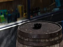 Wooden Whisky Barrel in the street in Dublin, Ireland. Old wooden Whisky Barrel in the street outside a pub in Temple Bar, Dublin, Ireland. Shallow depth of royalty free stock photos