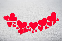 Wooden white background with red hearts. The concept of Valentin. E Day Royalty Free Stock Image