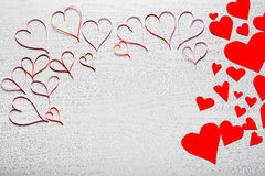 Wooden white background with red hearts. The concept of Valentin. E Day Stock Images