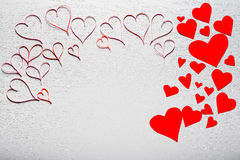 Wooden white background with red hearts. The concept of Valentin. E Day Royalty Free Stock Images