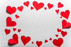 Wooden white background with red hearts. The concept of Valentin Royalty Free Stock Photo