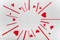 Wooden white background with red hearts. The concept of Valentin. E Day Stock Image