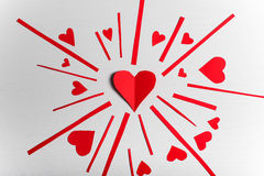Wooden white background with red hearts. The concept of Valentin. E Day Royalty Free Stock Photos