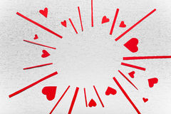 Wooden white background with red hearts. The concept of Valentin. E Day Stock Photography