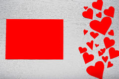 Wooden white background with red hearts and red leaf paper. The. Concept of Valentine`s Day Stock Photography