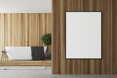 Wooden and white bathroom, tub and poster close up. Wooden and white bathroom interior with a concrete floor, a round white tub, and a poster on the foreground royalty free illustration