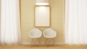 Wooden white chair with frame and pendent lamp-3D Rendering Stock Images