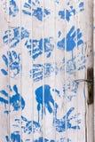 Wooden white door. Stock Photos
