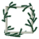 Wooden white frame with fir branches,. Christmas decoration, Christmas background Royalty Free Stock Photos