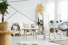 Wooden and white furniture Stock Image