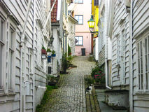 Wooden white houses Stock Images