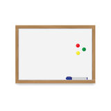 Wooden white magnetic board with a marker for inscriptions and colorful magnets. Royalty Free Stock Photo