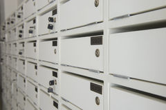 Free Wooden White Mailboxes Locker Stock Photo - 95519620