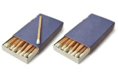 Wooden white matches in matchbox Royalty Free Stock Image