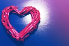 Wooden wicker heart stock photography