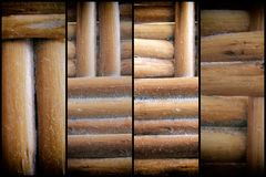 Wooden wicker texture of basketwork for background use.  Royalty Free Stock Photo