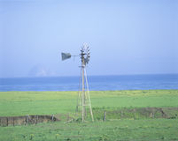 Wooden Windmill. In a field, Morro Bay, California Stock Photos