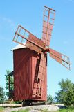 Wooden Windmill. Restored wooden windmill traditional for Western Finland Stock Photo