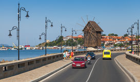 Wooden windmill in Ancient town Nesebar, Bulgaria Royalty Free Stock Images
