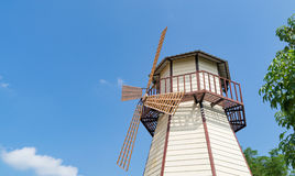 Wooden Windmill blue sky. Wooden Windmill on blue sky Stock Images