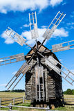 Wooden windmill in ethnographic museum in Pirohovo near Kyiv, Uk Royalty Free Stock Photography