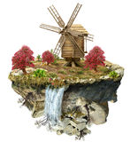Wooden windmill on the island Royalty Free Stock Photography
