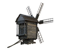 Wooden windmill isolated Royalty Free Stock Images
