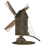 Wooden windmill isolated Stock Photos