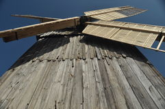 Wooden windmill. Monument. Antique mill powered Stock Images