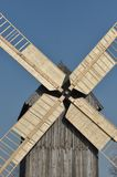 Wooden windmill. Monument. Antique mill powered. By the wind royalty free stock image