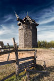 Wooden windmill. Old destroyed wooden windmill, Russia Stock Images