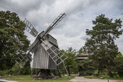 Wooden windmill. Old windmill in Skansen - historical park in Stockholm, Sweden Stock Photo