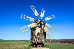 Wooden windmill. In open-air museum Pirogovo, Ukraine stock photos