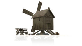 Wooden windmill - separated on white background Royalty Free Stock Images