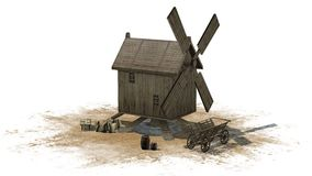 Wooden windmill - separated on white background Royalty Free Stock Image