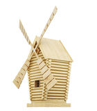 Wooden windmill side view isolated on white background. 3d rende Royalty Free Stock Photo