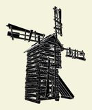 Wooden Windmill Vector 01. Rustic Wooden Windmill Illustration Vector Royalty Free Stock Photo
